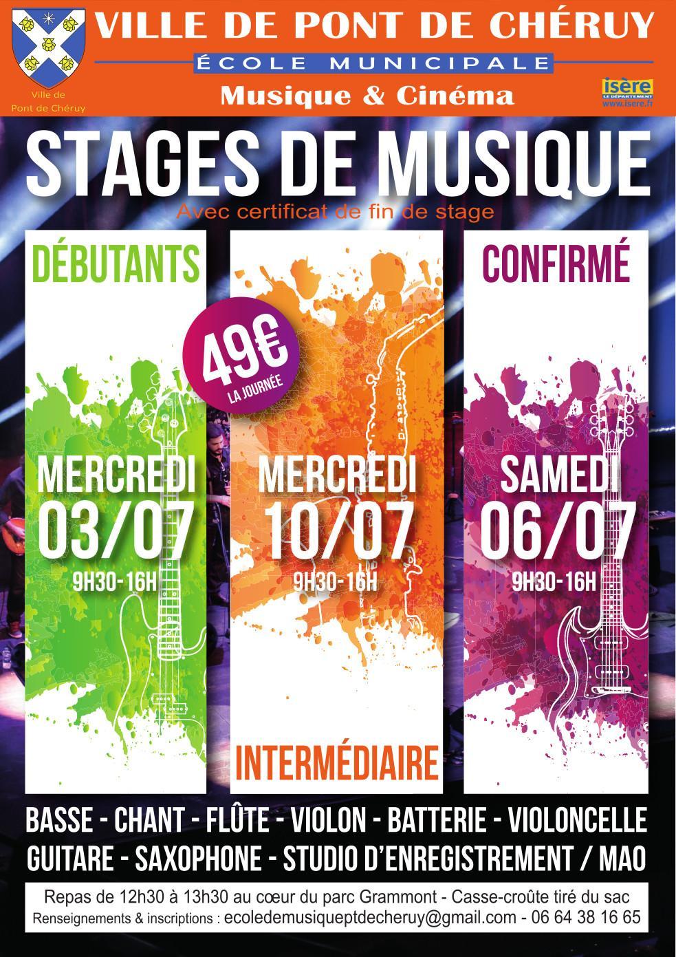 Affiche Stage de musique Pont de Cheruy juillet 2019