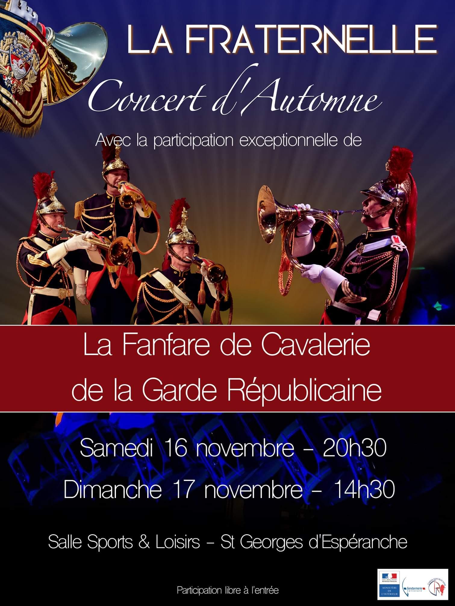 Concert automne La Fraternelle fanfare cavalerie garde republicaine