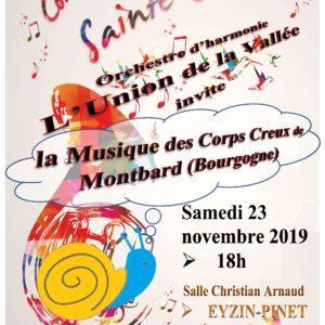 Concert Sainte-Cécile Union de la vallée le 23 novembre