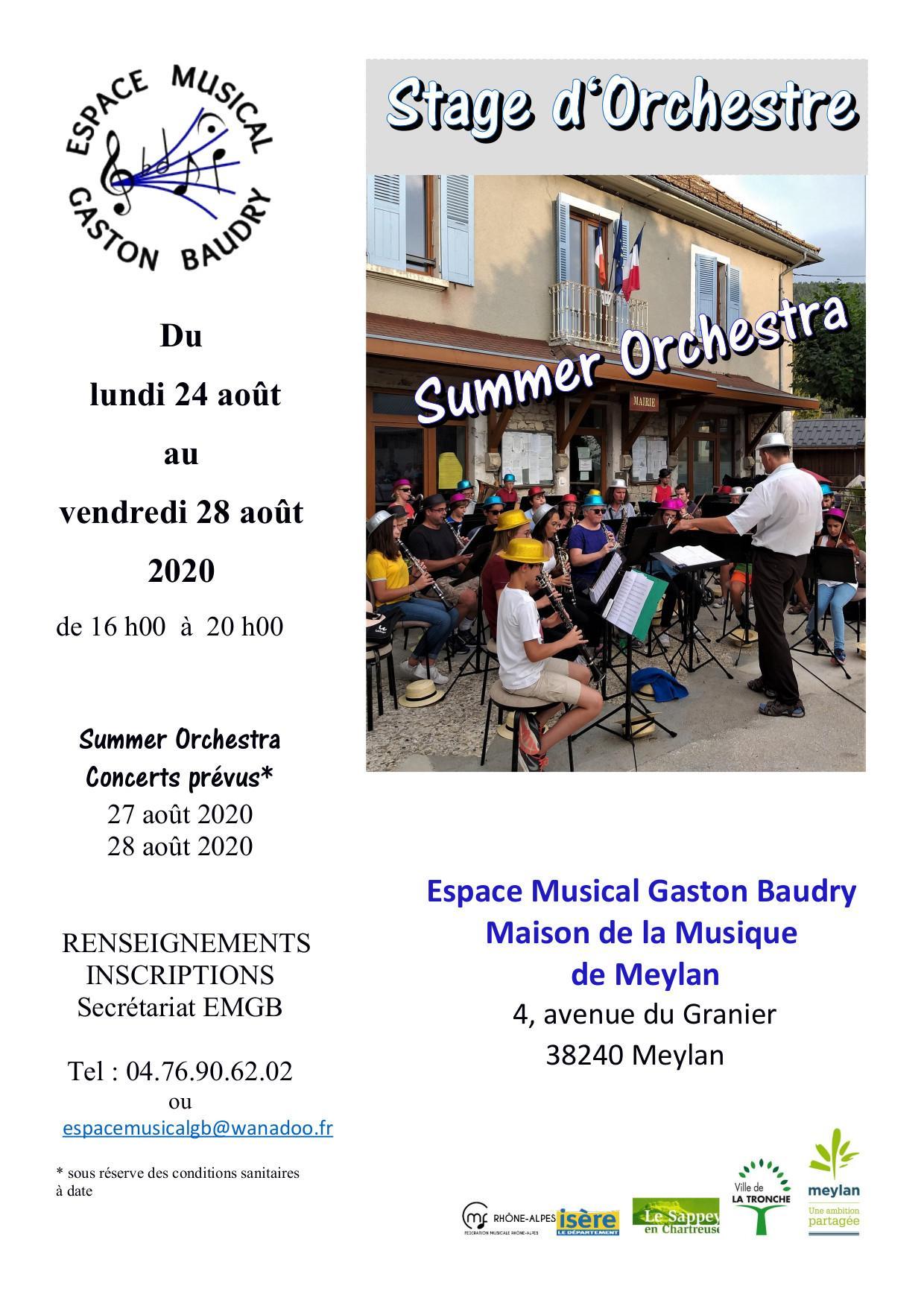Affiche stage orchestre Aout 2020