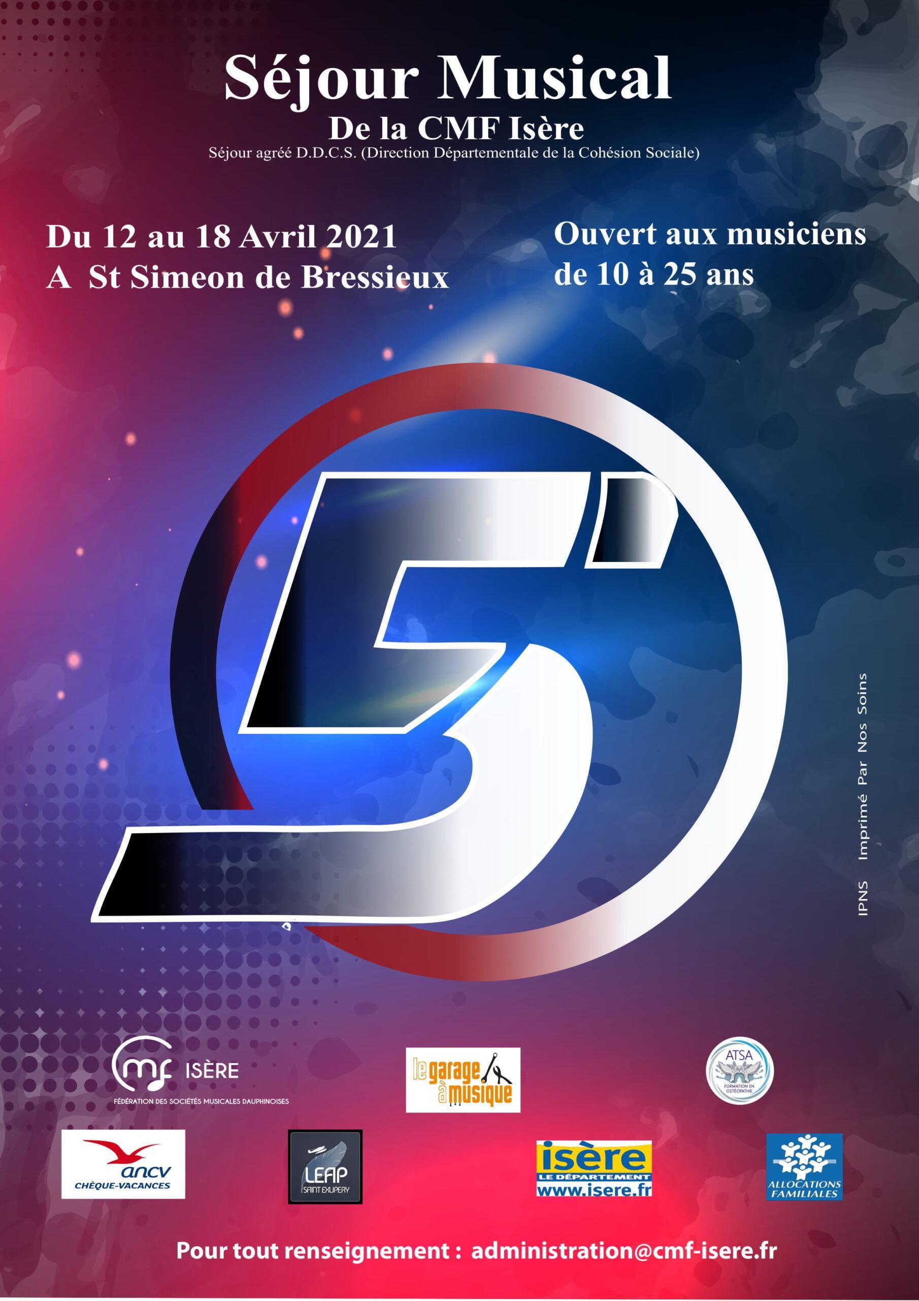 Affiche du séjour musical CMF Isère 2021